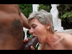 Grey Haired Granny Outdoor Drag inflate and Fuck