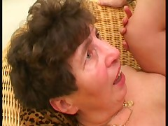 Hairy granny fucked on the sofa