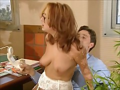 Redhed on touching glasses shagging anally on touching office