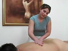 Topless massage gets client off