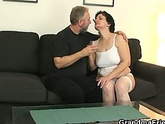 Her old hairy pussy is toyed and fucked