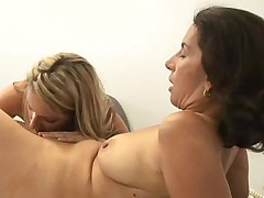 Older woman seduces young girl at office, super hot!