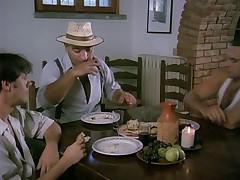 Cute italian waitress gangbanged by three workers