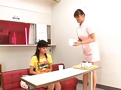 Nurse gives the girl the treat