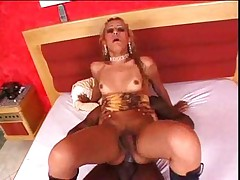 Blond and black shemale sex