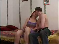 Milf redhead enjoys the young man cock