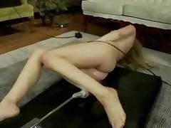 Blonde Uses Huge Fucking Machines To Pleasure Herself In..