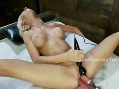 Blonde Busty Girl Sucks And Fucks Electric Fucking Machines..
