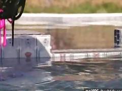 Sexy Brunette Gal Screwed Near Pool