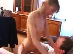 Skinny Teen Rides Her Teacher After Sucking Him
