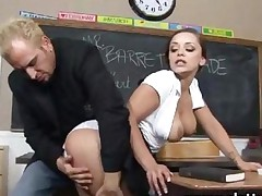 Busty Student Deepthroats Teachers Cock With Passion