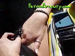 Footjob While Driving The Car