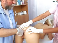 Gyno Exam With Watter Filled Anal