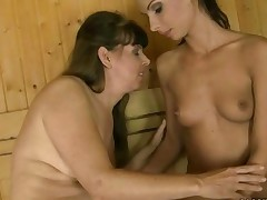 Granny And Teen Having Fun In Sauna