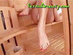 Cute Blonde Showcases Her Feet In A Sauna