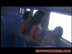 Two Horny Girls Fucking Big Dick In The Train