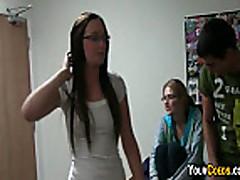 College Babes Striptease In Dorm Room