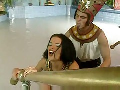 Egyptian pharaoh fucks good looking harem slut