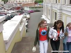 Russian girls make him happy and cum