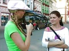 Blonde stalking girls for flashing 3