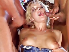 Desperate housewife fucked by two cocks