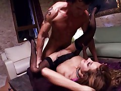 Two cocks rip chick in basement