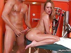 Cute brunette gets her pussy fucked