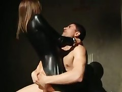 Beautiful brunette bounces on cock with her ass