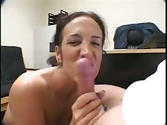 Turned-on Brunette Goes Down on Big Rod