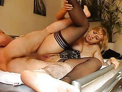Blonde plays on dick and toy