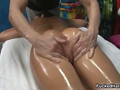 Brunette Babe Gets Oiled Up And Sucks Dick During A Massage By FuckedHard19
