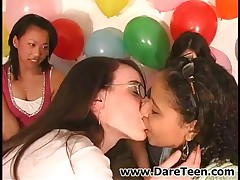 Two Cute Teen Girls Kissing On Truth Or Dare Sexgame