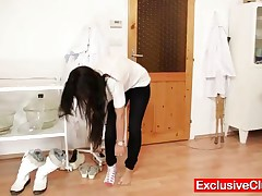 Sharon - Hot Skinny Babe Is Very Flexible, She Proofs Her Flexibily At Medical Examination By Perver