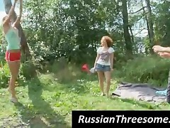 Small Titted Russian Teens Licking Twats In Threesome