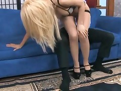 Kagney Lynn Karter - Kagney In Sheer Seamed Stockings Giving Footsex And Fucking