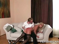Sexy Blonde With Glasses Enjoys Her Bottom Spanked