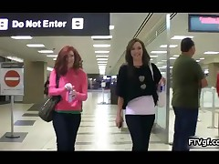 Two Sexy Teen Chicks Going Wild At The Airport And Showing Their Tits By FTVgf