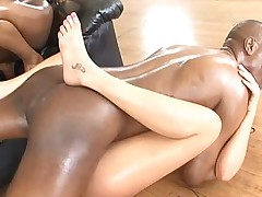 Two big ass oiled sluts in interracial threesome