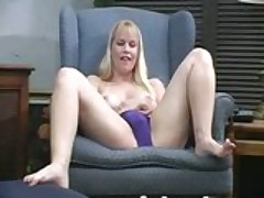 Lacie strips and dildoing her pussy