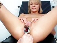 Faye gyno exam pussy gaping with real orgasm