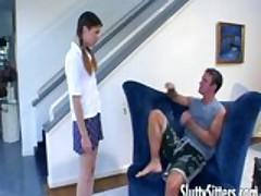Petite teen babysitter in action