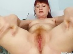 Mature old redhead Olga visiting her gyno doctor for suitable unmitigated grown up pus