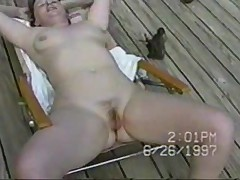 Nudist lawnchair wife