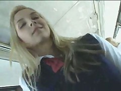 Blonde helps chinese man on bus