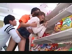 Fucking Japanese girl in a store