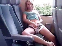 Hot amateur girl masturbate in public on a train