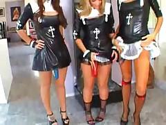 3 Horny Nuns Demolish Man Ass
