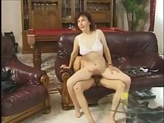Granny Fucked on a Leather Sofa