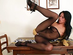 Hot chick got nylon pantyhose imperceivable tits