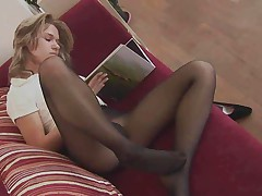 Reading a Book and Teasing in Pantyhose